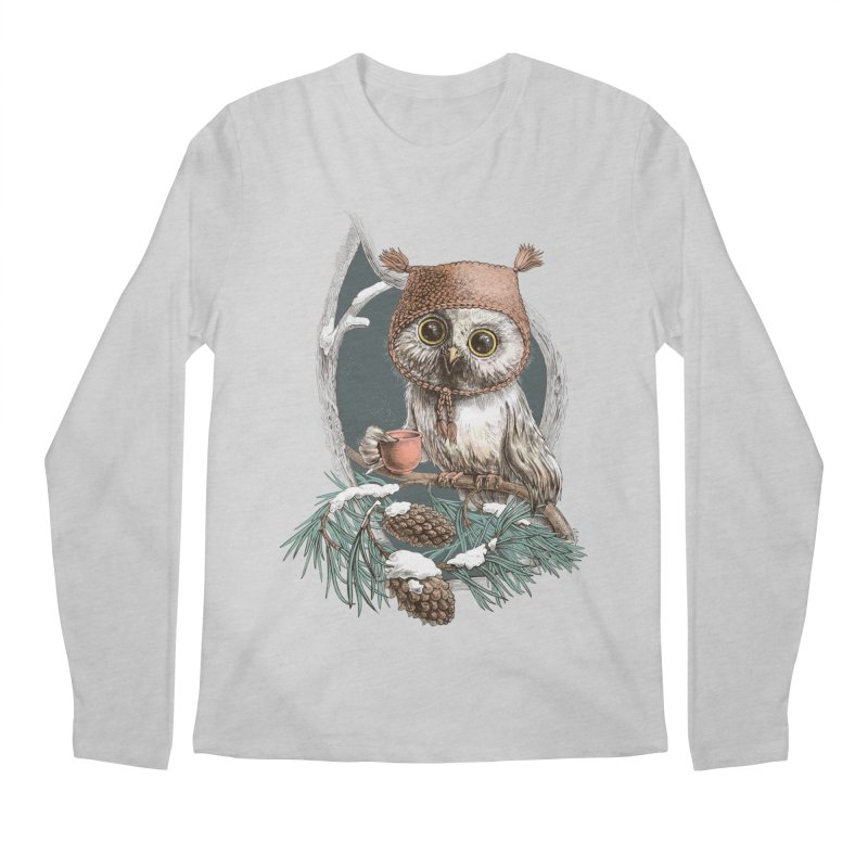 Winter owl in a cute hat Men's Longsleeve T-Shirt by elinakious's Artist Shop