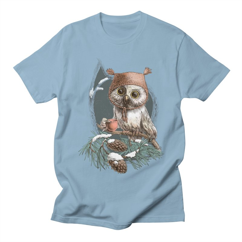 Winter owl in a cute hat Men's T-Shirt by elinakious's Artist Shop