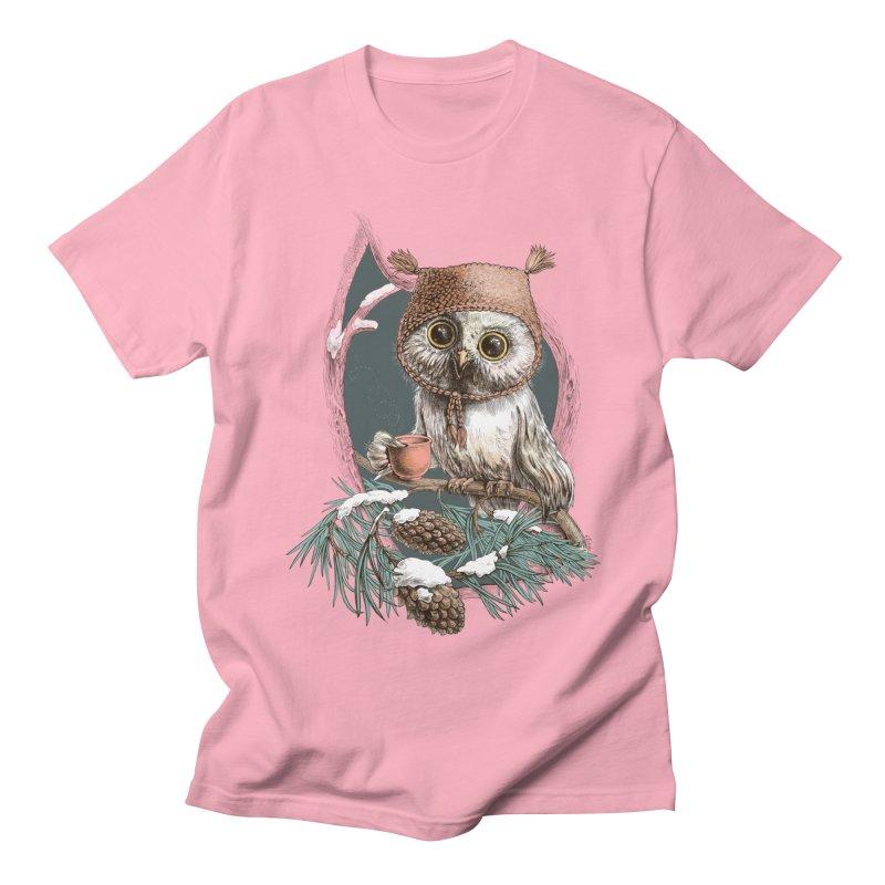 Winter owl in a cute hat Men's T-shirt by elinakious's Artist Shop