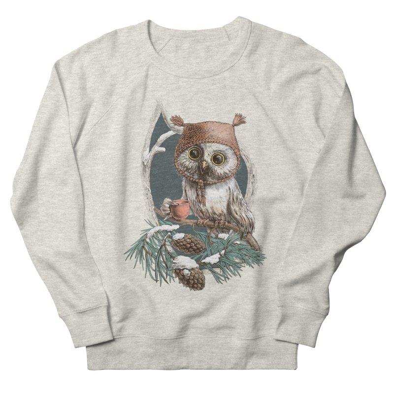 Winter owl in a cute hat Men's Sweatshirt by elinakious's Artist Shop