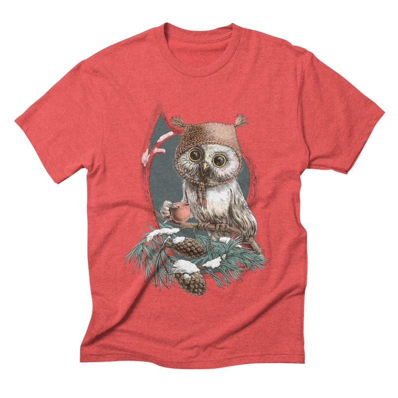 Winter owl in a cute hat Men's Triblend T-shirt by elinakious's Artist Shop