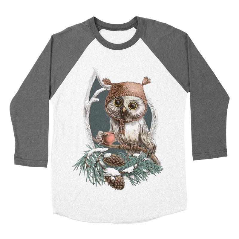 Winter owl in a cute hat Men's Baseball Triblend T-Shirt by elinakious's Artist Shop