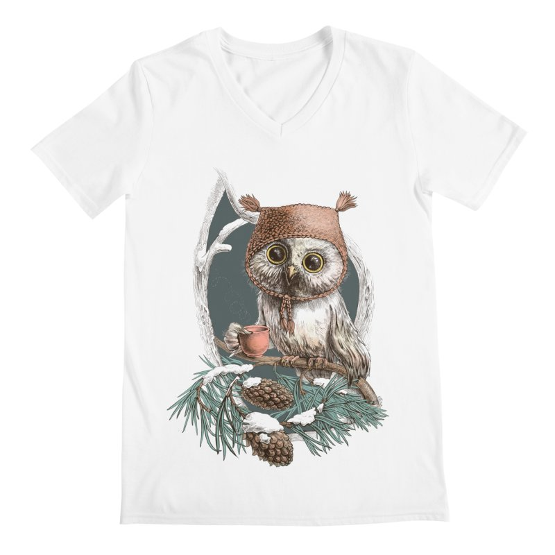 Winter owl in a cute hat Men's V-Neck by elinakious's Artist Shop