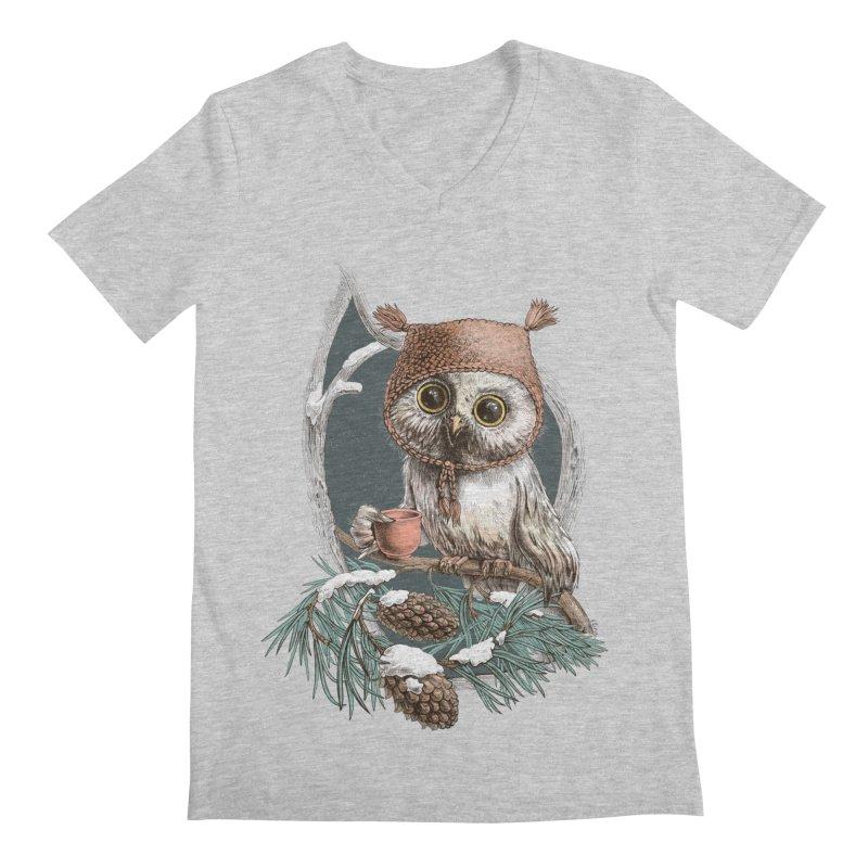 Winter owl in a cute hat Men's V-Neck by elinakious's Artist Shop