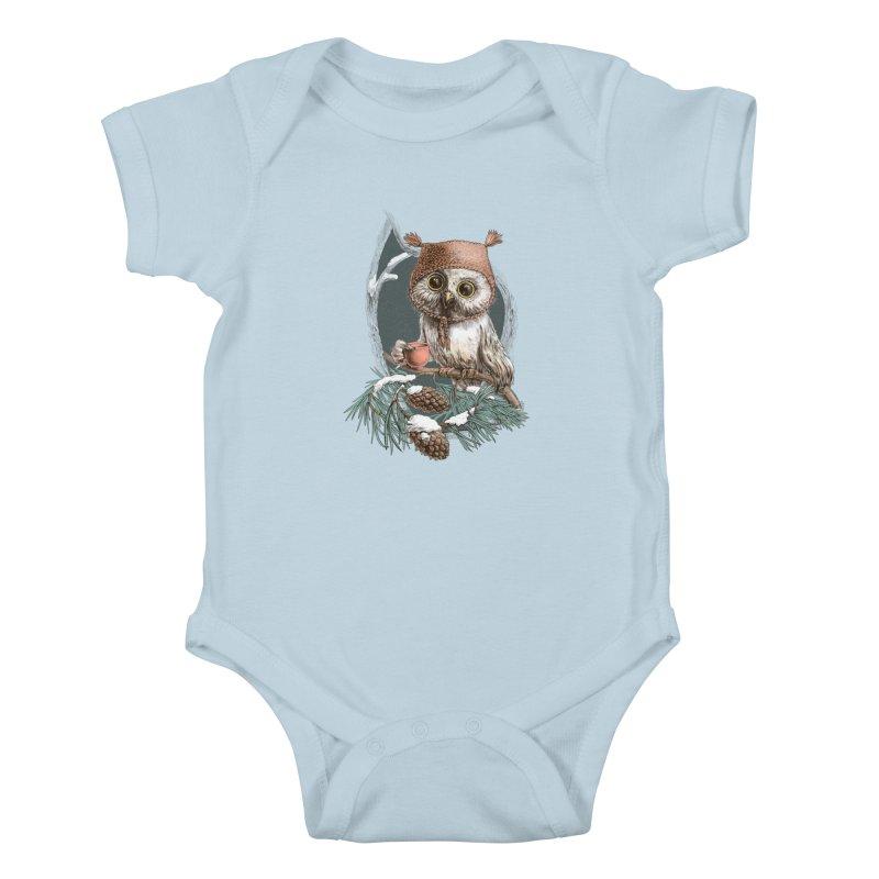 Winter owl in a cute hat Kids Baby Bodysuit by elinakious's Artist Shop