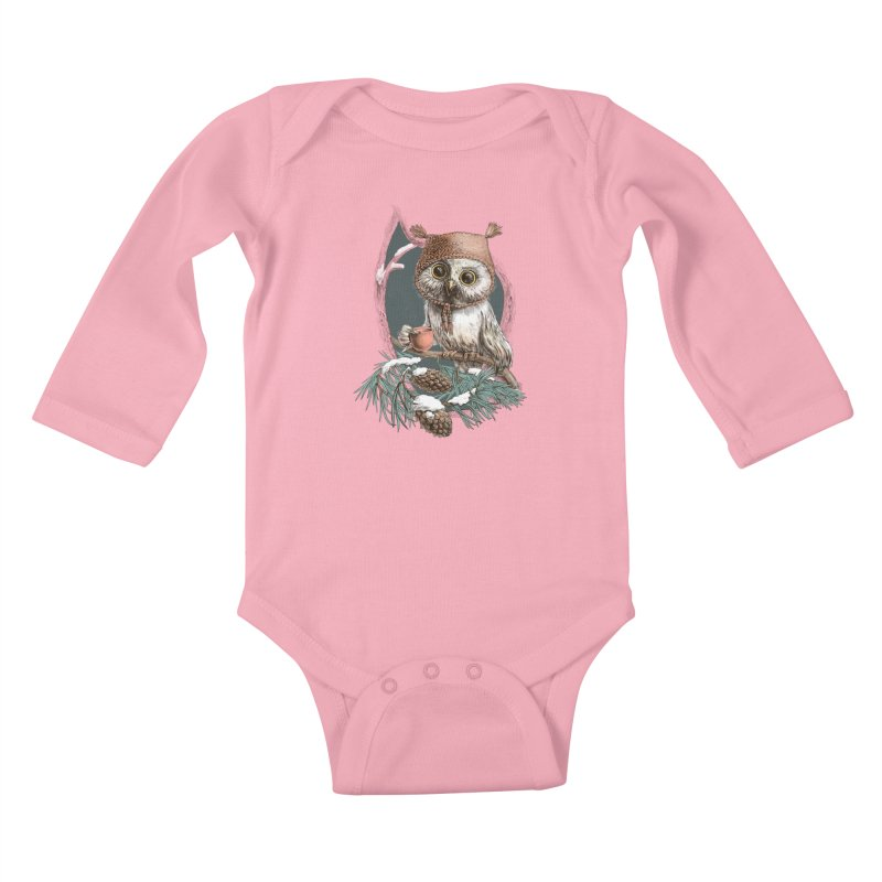 Winter owl in a cute hat Kids Baby Longsleeve Bodysuit by elinakious's Artist Shop