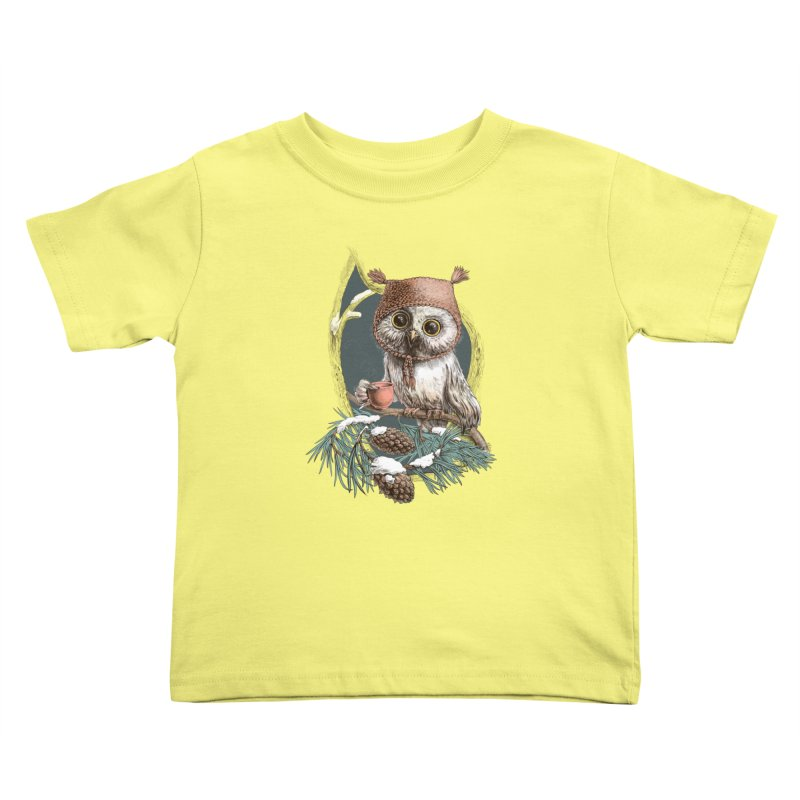 Winter owl in a cute hat Kids Toddler T-Shirt by elinakious's Artist Shop