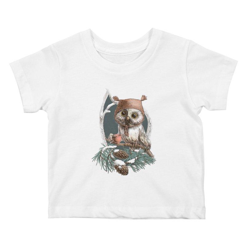 Winter owl in a cute hat Kids Baby T-Shirt by elinakious's Artist Shop
