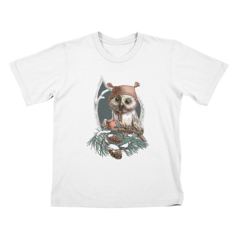Winter owl in a cute hat Kids T-shirt by elinakious's Artist Shop