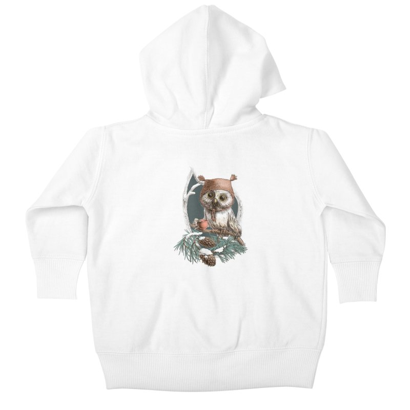 Winter owl in a cute hat Kids Baby Zip-Up Hoody by elinakious's Artist Shop