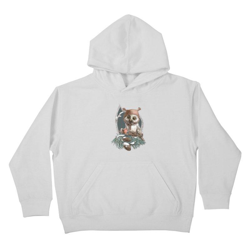 Winter owl in a cute hat Kids Pullover Hoody by elinakious's Artist Shop