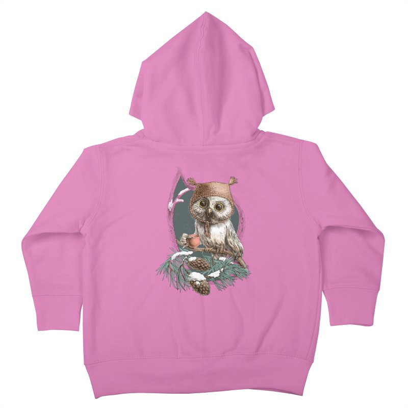 Winter owl in a cute hat Kids Toddler Zip-Up Hoody by elinakious's Artist Shop