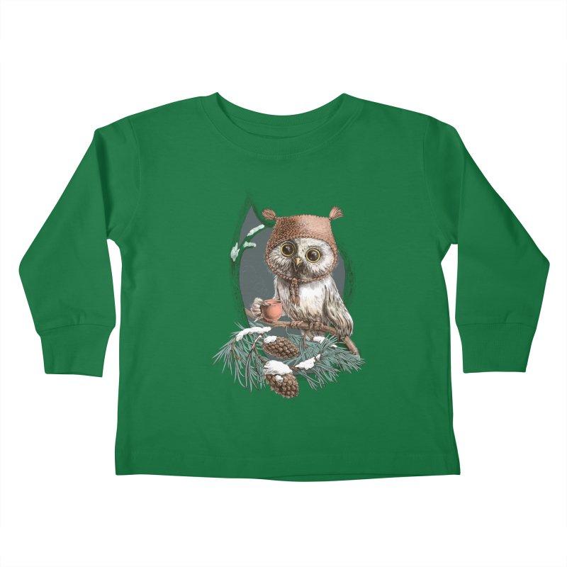 Winter owl in a cute hat Kids Toddler Longsleeve T-Shirt by elinakious's Artist Shop