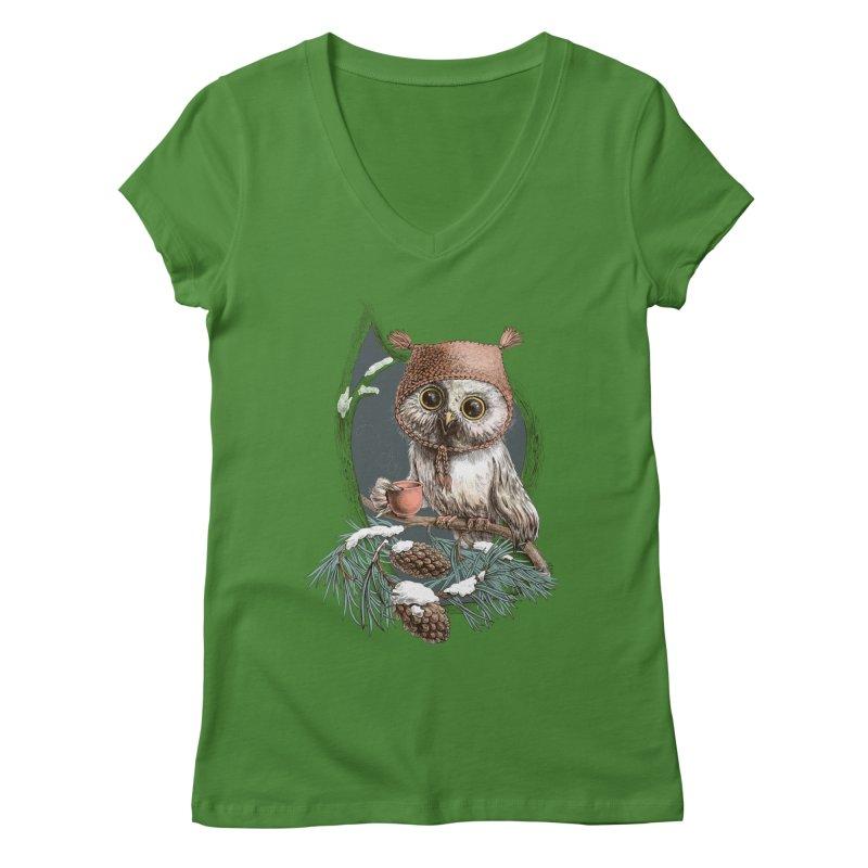 Winter owl in a cute hat Women's V-Neck by elinakious's Artist Shop