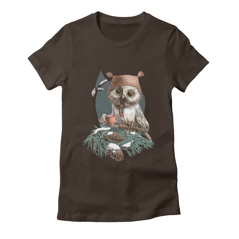 Winter owl in a cute hat Women's Fitted T-Shirt by elinakious's Artist Shop
