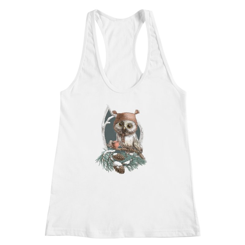Winter owl in a cute hat Women's Racerback Tank by elinakious's Artist Shop