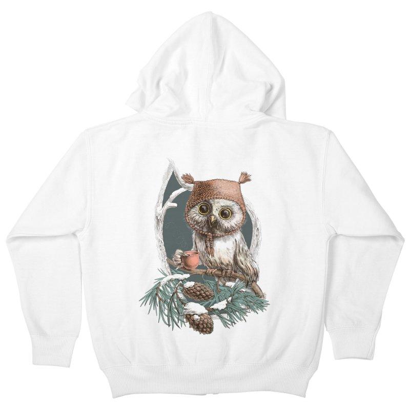 Winter owl in a cute hat Kids Zip-Up Hoody by elinakious's Artist Shop