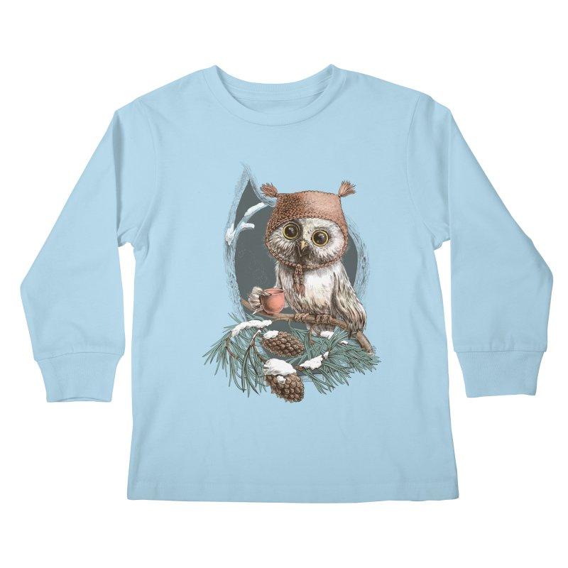 Winter owl in a cute hat Kids Longsleeve T-Shirt by elinakious's Artist Shop