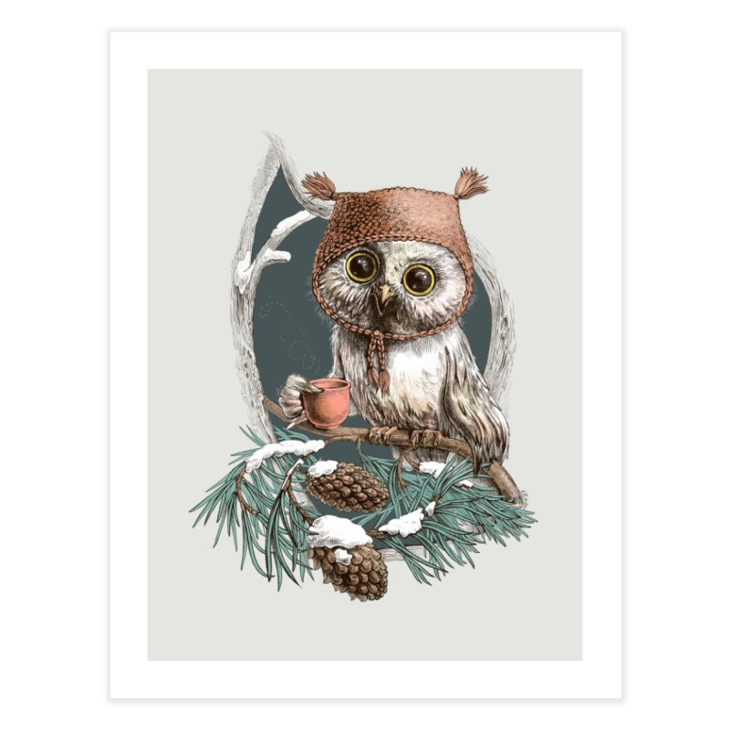 Winter owl in a cute hat   by elinakious's Artist Shop