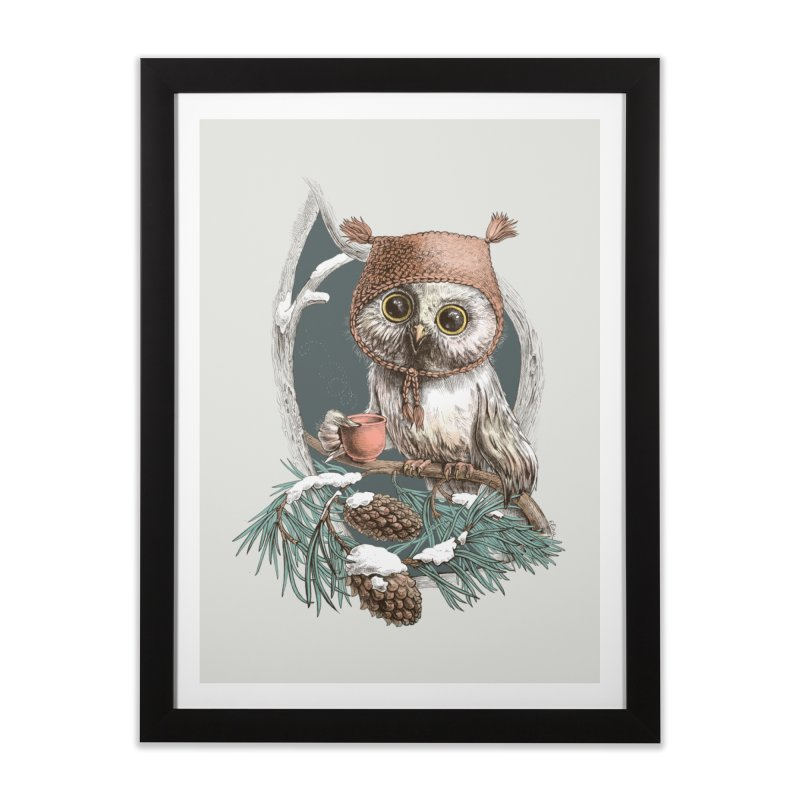 Winter owl in a cute hat Home Framed Fine Art Print by elinakious's Artist Shop