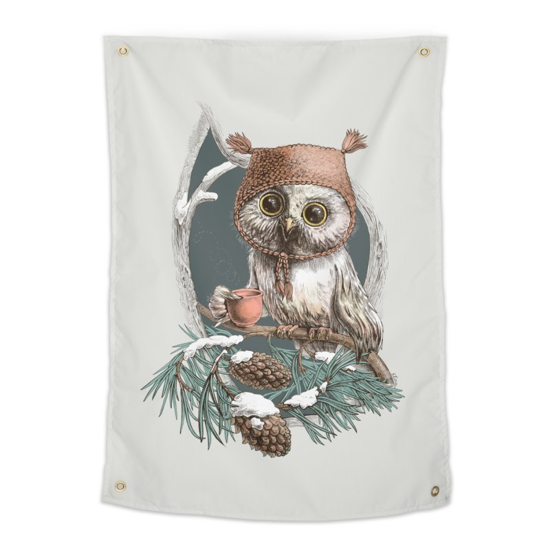 Winter owl in a cute hat Home Tapestry by elinakious's Artist Shop