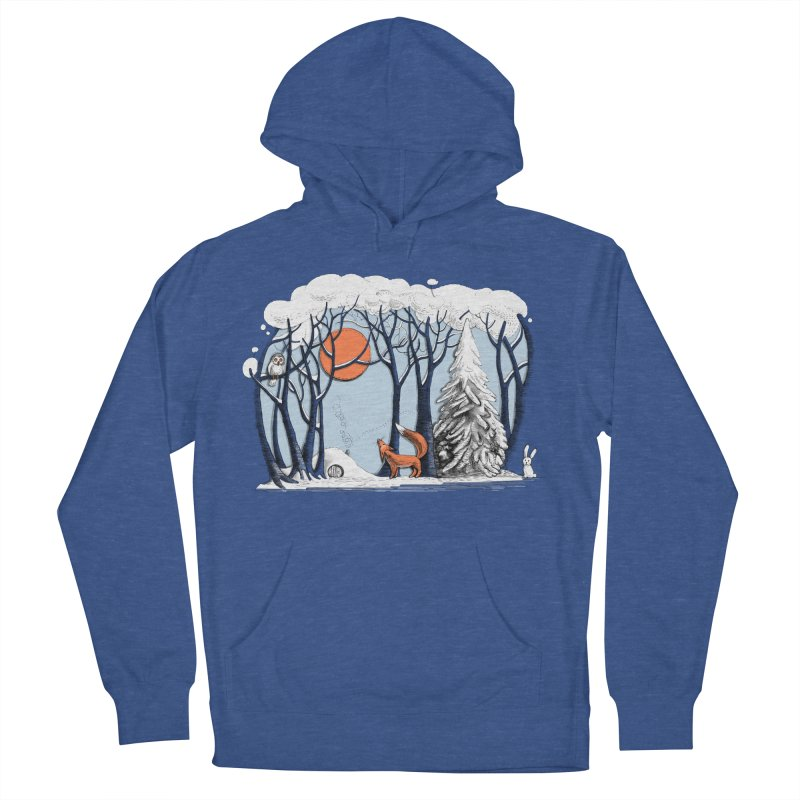 Winter landscape with fox and owl Women's Pullover Hoody by elinakious's Artist Shop
