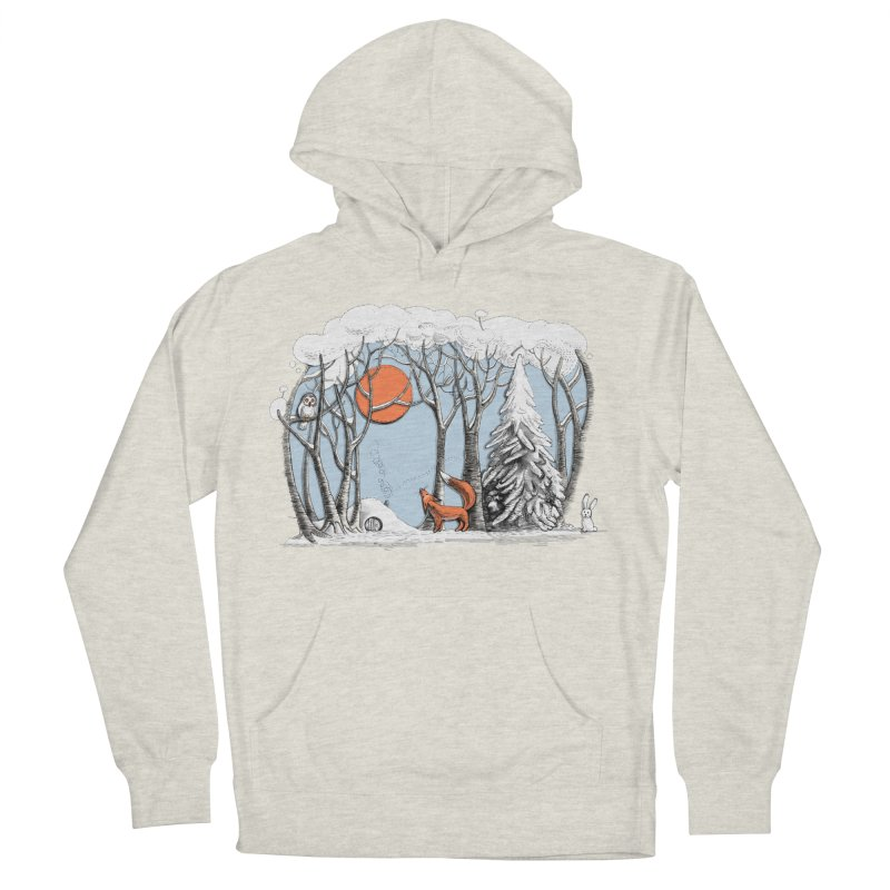 Winter landscape with fox and owl Men's Pullover Hoody by elinakious's Artist Shop