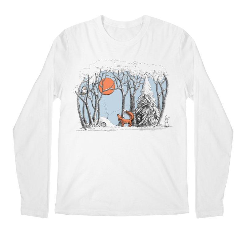 Winter landscape with fox and owl Men's Longsleeve T-Shirt by elinakious's Artist Shop