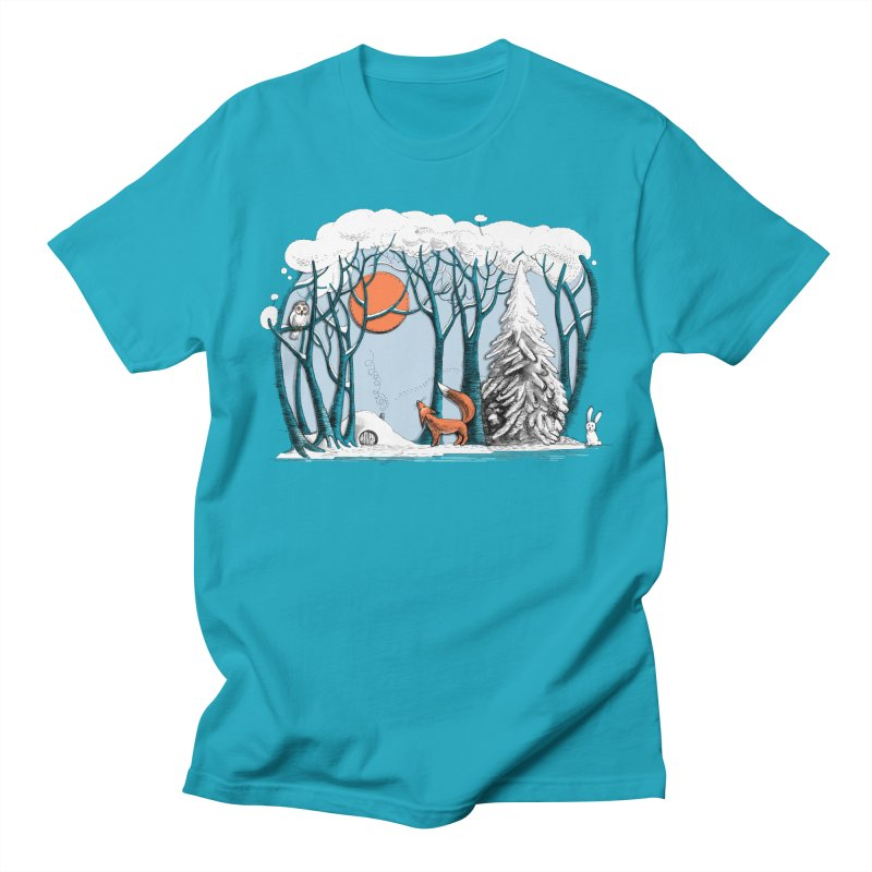 Winter landscape with fox and owl Women's Unisex T-Shirt by elinakious's Artist Shop