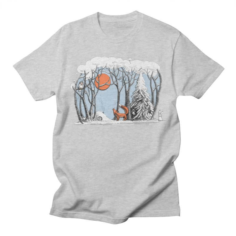 Winter landscape with fox and owl Men's T-Shirt by elinakious's Artist Shop