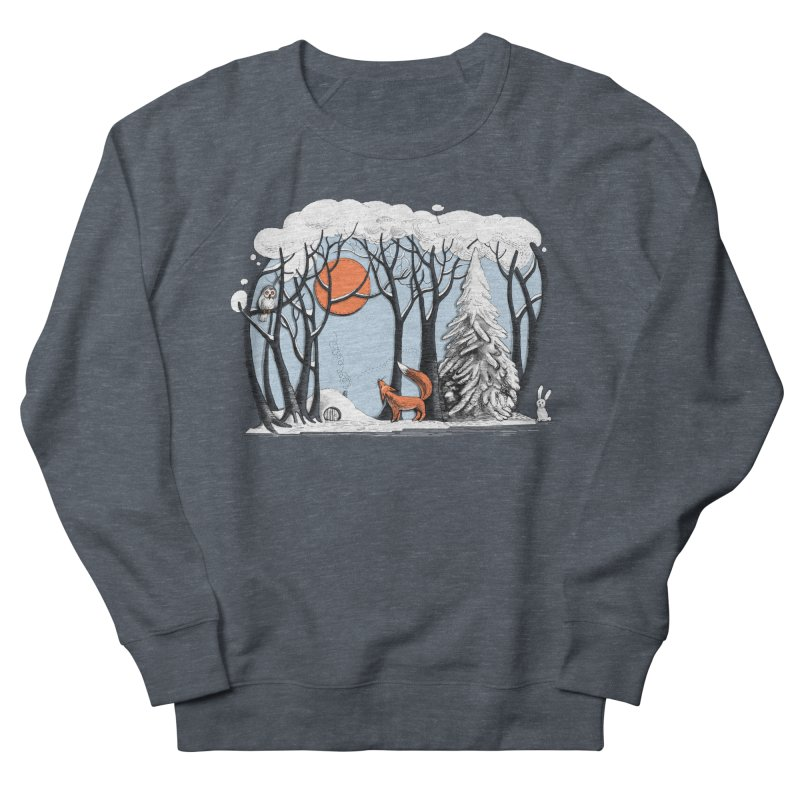 Winter landscape with fox and owl Men's Sweatshirt by elinakious's Artist Shop