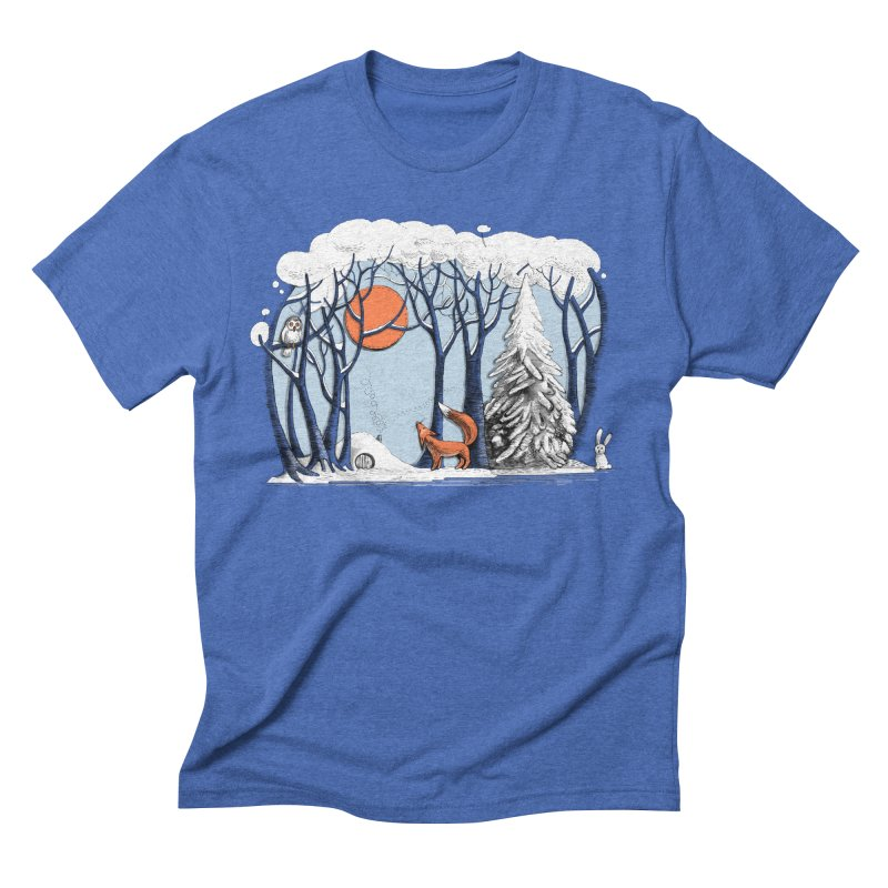 Winter landscape with fox and owl Men's Triblend T-Shirt by elinakious's Artist Shop
