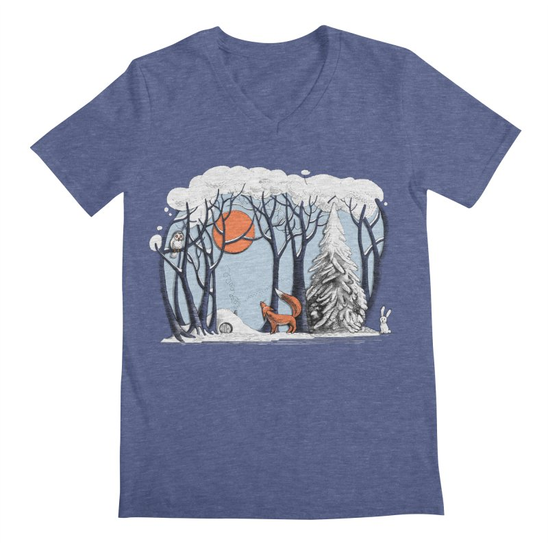 Winter landscape with fox and owl Men's V-Neck by elinakious's Artist Shop