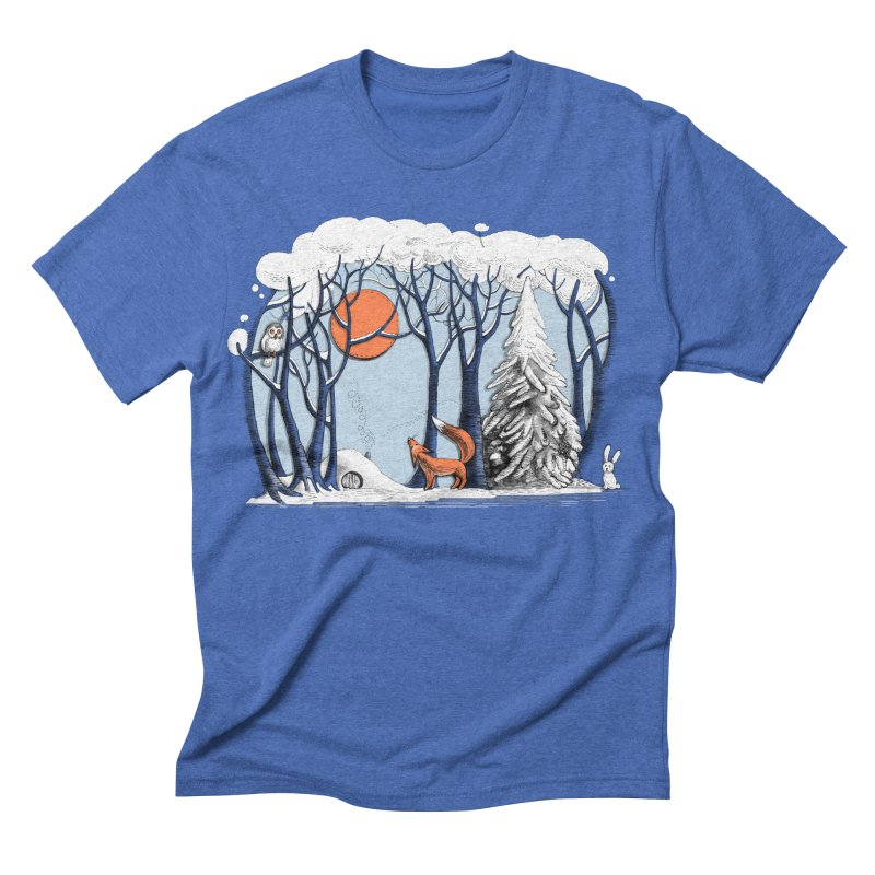 Winter landscape with fox and owl   by elinakious's Artist Shop