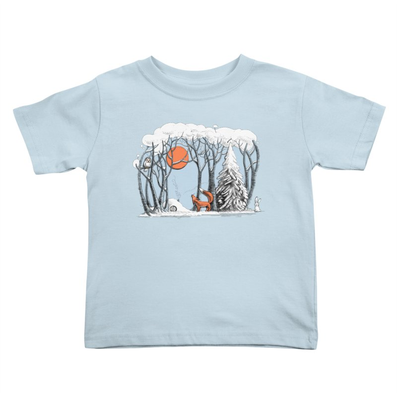 Winter landscape with fox and owl Kids Toddler T-Shirt by elinakious's Artist Shop