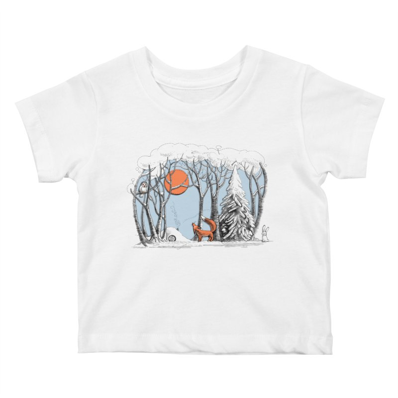 Winter landscape with fox and owl Kids Baby T-Shirt by elinakious's Artist Shop