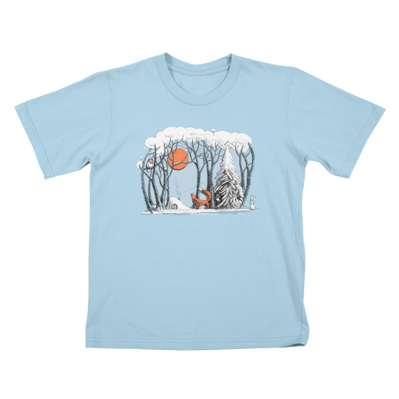 Winter landscape with fox and owl Kids T-Shirt by elinakious's Artist Shop