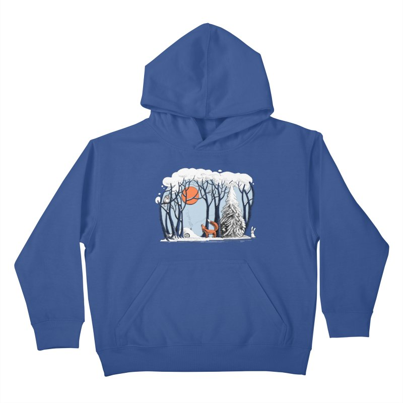 Winter landscape with fox and owl Kids Pullover Hoody by elinakious's Artist Shop