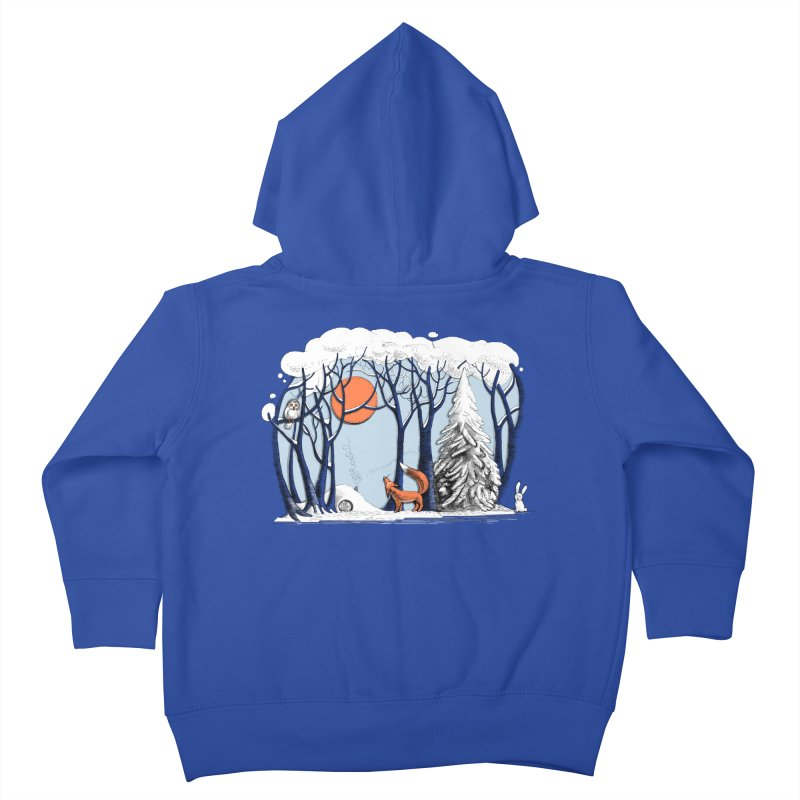 Winter landscape with fox and owl Kids Toddler Zip-Up Hoody by elinakious's Artist Shop
