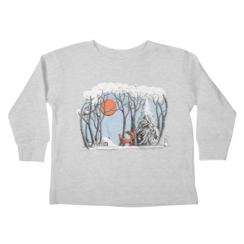 Winter landscape with fox and owl Kids Toddler Longsleeve T-Shirt by elinakious's Artist Shop