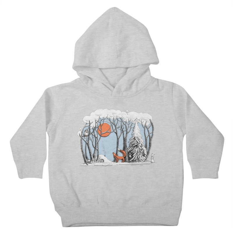 Winter landscape with fox and owl Kids Toddler Pullover Hoody by elinakious's Artist Shop