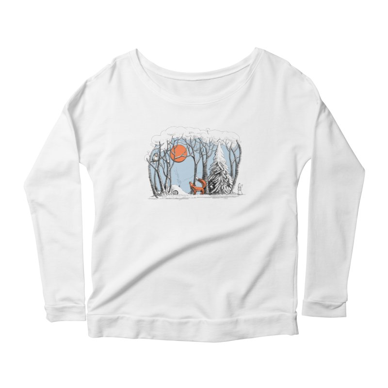 Winter landscape with fox and owl Women's Longsleeve Scoopneck  by elinakious's Artist Shop