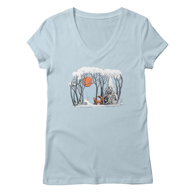 Winter landscape with fox and owl Women's V-Neck by elinakious's Artist Shop