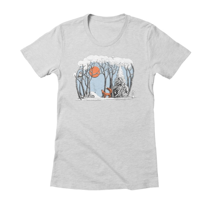 Winter landscape with fox and owl Women's Fitted T-Shirt by elinakious's Artist Shop
