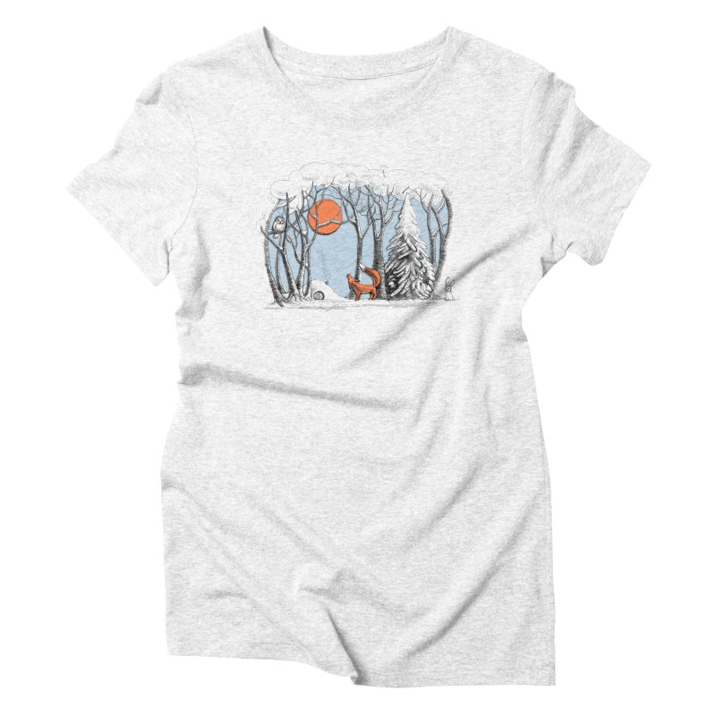 Winter landscape with fox and owl Women's Triblend T-shirt by elinakious's Artist Shop