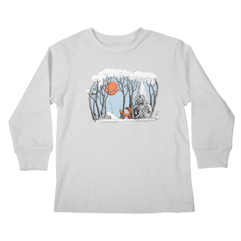 Winter landscape with fox and owl Kids Longsleeve T-Shirt by elinakious's Artist Shop