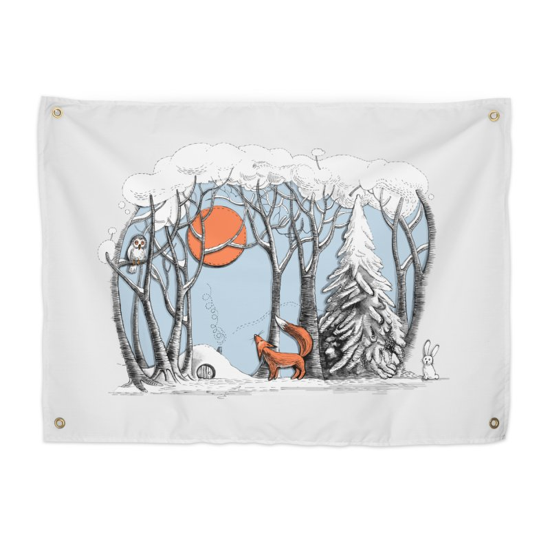 Winter landscape with fox and owl Home Tapestry by elinakious's Artist Shop