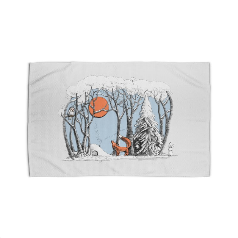 Winter landscape with fox and owl Home Rug by elinakious's Artist Shop