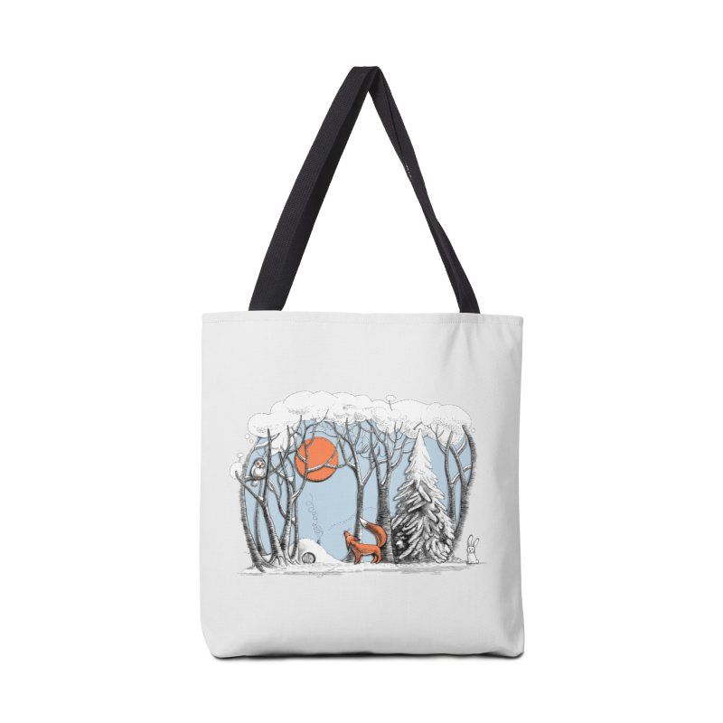Winter landscape with fox and owl Accessories Bag by elinakious's Artist Shop