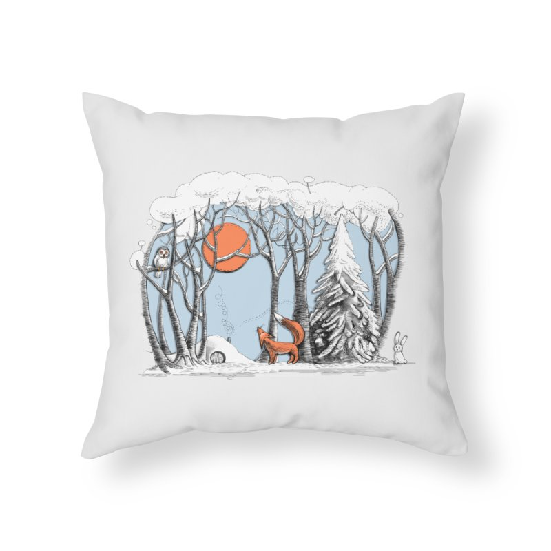 Winter landscape with fox and owl Home Throw Pillow by elinakious's Artist Shop